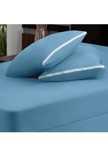 Capa Dourados Enxovais Para Colchão Azul Casal Padrão 03 Peças - Malha 100% Algodão
