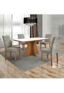Conjunto De Mesa De Jantar Creta Com 4 Cadeiras Olimpia Veludo Ipê E Preto