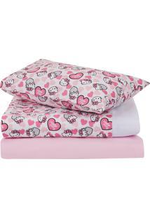 Jogo De Cama Infantil 3 Pçs Cici E Ben Hello Kitty Rosa