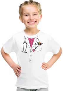 Camiseta Infantil Criativa Urbana Médica Branca