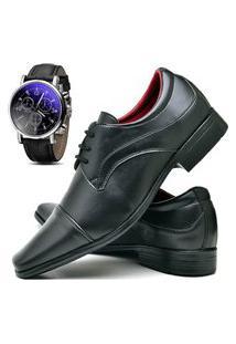 Sapato Social Masculino Asgard Com Relógio Db 832Lbm Preto