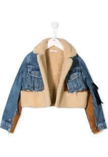 Natasha Zinko Kids Jaqueta Jeans Com Contraste De Costura - Neutro