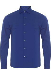 Camisa Masculina Stretch Lisa - Azul
