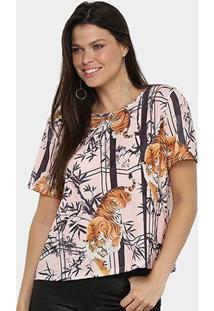 Camiseta Lança Perfume Onça Descolada Feminina - Feminino-Marrom