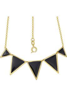 Gargantilha Prata Mil Com 5 Triângulos Com Resina Dourado