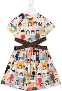 Fendi Kids Vestido Dg Friends Com Recorte Vazado - Rosa