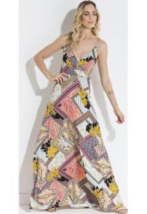 Vestido Quintess Estampado Decote Transpassado