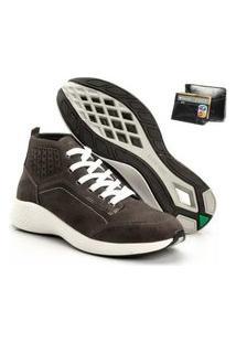 Tenis Masculino Em Couro Jhon Boots Yeeze Sneakers Cinza + Carteira Em Couro