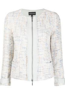 Emporio Armani Formal Tweed Embellished Jacket - Azul