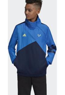 Jaqueta Infantil Adidas Messi Masculina - Unissex-Azul
