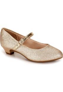 Sapato Salto Infantil Molekinha - 25 Ao 34 - Dourado