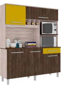 Cozinha Compacta Classic 5 Pt 1 Gv Carvalho E Amarelo