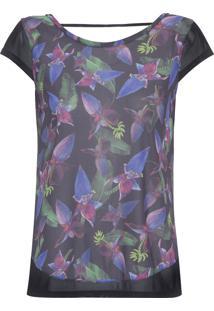 Camiseta Feminina Recorte Tule - Preto