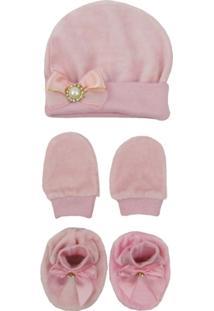 Kit Bebê Feminino Touca, Luva E Sapatinho Plush Rosa - Feminino