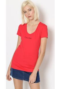 "Camiseta ""Calvin Klein Jeansâ®"" - Vermelha & Pretacalvin Klein"