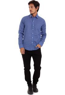 Camisa De Tricoline Joss Estampada Azul