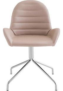 Cadeira Arm Slim Assento Estofado Dunas Fendi Com Base Cromada - 46887 - Sun House