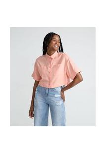 Camisa Cropped Em Viscolinho Com Manga Curta E Bolsos | Blue Steel | Rosa | M