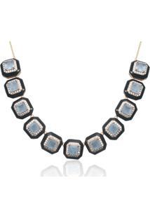Colar Kris Mayer Esmaltado Com Zirconias E Pedra Cor Agata Azul Folheado A Ouro 18K