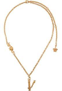 Versace Colar De Letra - Dourado