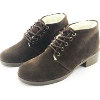 746bf8d0d Bota Coturno Forrada Em Lã Quality Shoes Feminina Camurça Marrom 36