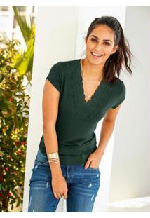 Blusa Com Renda Verde
