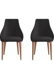 Conjunto Com 2 Cadeiras De Jantar Evelyn Preto