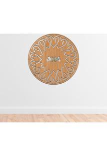 Escultura De Parede Wevans Mandala Heart, Madeira + Espelho Decorativo