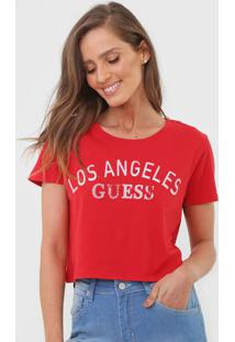 Camiseta Cropped Guess Los Angeles Vermelha