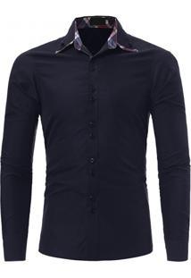Camisa Masculina Casual Slim Manga Longa - Azul Marinho M