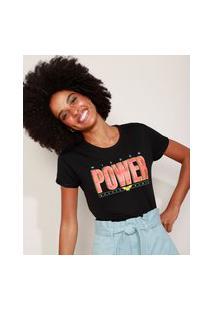 Camiseta De Moletinho Feminina Mulher Maravilha Manga Curta Decote Redondo Preta