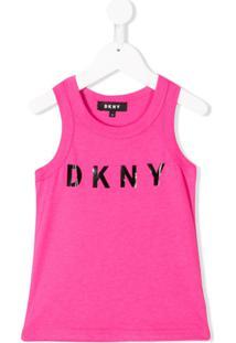 Dkny Kids Regata Com Estampa De Logo - Rosa