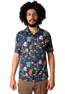 Camisa Andy Roll Cartoon Flora Preta