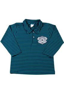 Camiseta Infantil Cotton Listrado A - Masculino-Verde