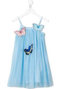 Charabia Vestido Com Tule E Aplicação De Borboleta - Azul