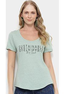 Camiseta T-Shirt Colcci Estampa Eco Soul Feminina - Feminino-Verde Claro