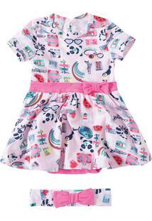 Vestido Estampado Menina Zig Zig Zaa Rosa Claro - G