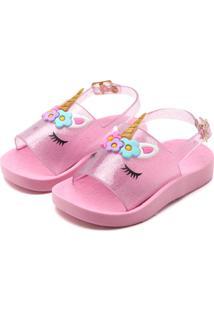 Sandália De Unicórnio Com Glitter Luelua
