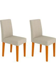 Conjunto Com 2 Cadeiras Giovana I Ipê E Creme