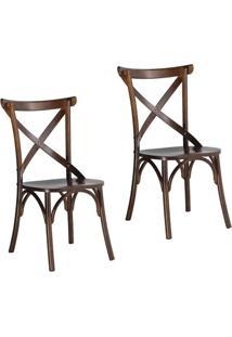 Kit 2 Cadeiras Paris Estilo Vintage Em Madeira Maciça Acabamento Em Verniz Pinhão