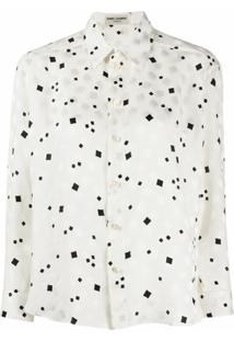 Saint Laurent Camisa Com Estampa Abstrata - Branco