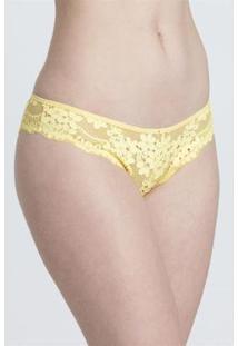 Calcinha Tanga Recco Renda - Feminino-Amarelo