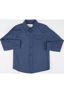 Camisa Infantil Estampada De Poá Com Bolsos Manga Longa Azul Marinho