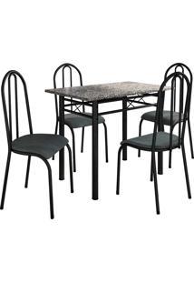 Conjunto De Mesa Genebra C/ 4 Cadeiras Alicante Preto Fabone Móveis Tubulares