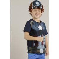 Camiseta Infantil Capitão América + Máscara Manga Curta Gola Careca Azul  Marinho e19d888cf8c53