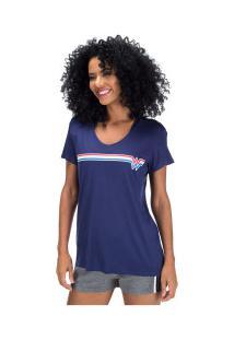 Camiseta Liga Da Justiça Mulher-Maravilha Retrô - Feminina - Azul Escuro