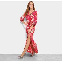 47c1979079 Vestido Morena Rosa Longo Decote V Floral Fenda - Feminino-Vermelho+Rosa