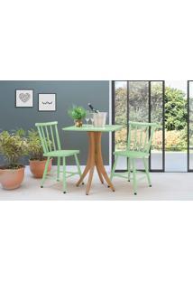 Mesa Bistrô Pequena 2 Cadeiras Quadrada Juliette - Jatobá E Verde Sálvia