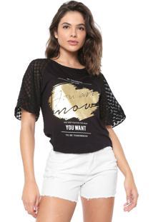 Camiseta Morena Rosa Devorê Preta