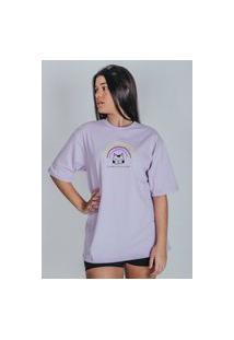 Camiseta Feminina Oversized Boutique Judith Eu Faço O Que Eu Quero Lilás